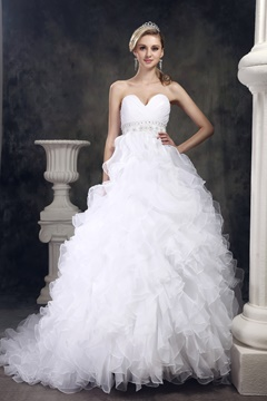 Fantastic A-line Sweetheart Ruffling Organza A-Line Wedding Dress