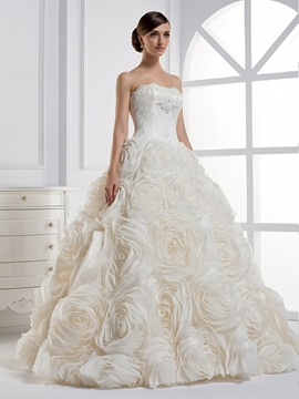Elegant Strapless Ball Gown Floor-length Wedding Dress