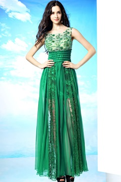 Fresh A-Line Floor-Length Scoop Prom/Evening Dress