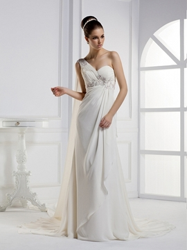 Unique A-line One-shoulder Court Train Watteau Wedding Dress