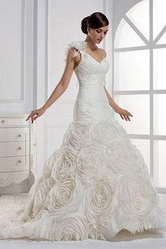 Dramatic One Shoulder Mermaid Wedding Dress