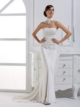 Dramatic Column Strapless Court Train Wedding Dress With Jacket/Shawl