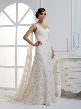 Attractive A-line One-shoulder Watteau Floor-length Sweep Lace Wedding Dress