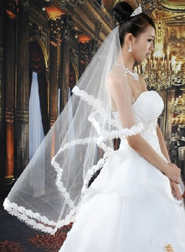 Gorgeous Waltz Length White Wedding Veil