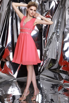 Fancy A-Line V-Neck Beadings Crystal Prom/Homecoming Dress