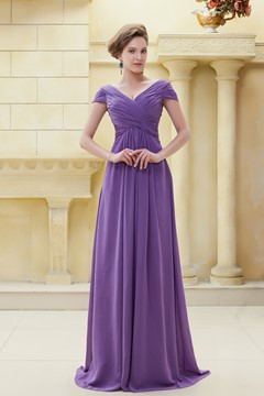 Delicated Pleats V-Neckline Floor-Length Mother of the Bride Dress