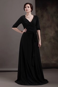 Attractive A-Line Tea-Length V-Neck 3/4-Sleeves Luba's Mother of the Bride Dress