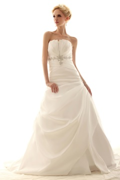 A-line Strapless Floor-Length Chapel Pick-up Nastye's Wedding Dress