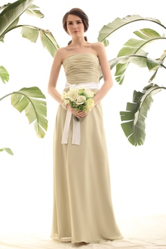 Light Yellow Green Column Strapless Luba's Bridesmaid Dress
