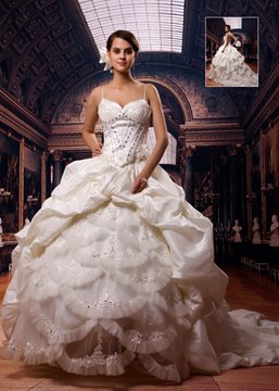 Gorgeous Ball Gown Spaghetti Straps Floor-Length Chapel Wedding Dress