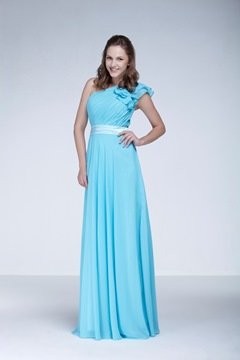 Ruched A-Line One-Shoulder Floor-Length Ela's Bridesmaid Dress