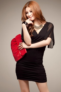 Ericdress Chiffon V-Neck Bodycon Dress