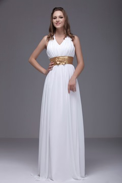 Ruched A-Line Halter Floor-Length Ela's Bridesmaid Dress