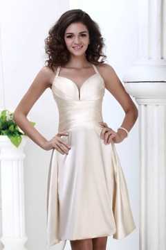Elegant A-Line Spaghetti Straps Knee-Length Roxy's Bridesmaid Dress