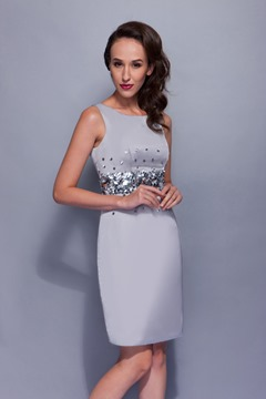Elegant Sequins A-Line Short/Mini-Length Round-Neck Renata's Mother Of The Bride Dress
