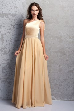 Attractive Pleats A-Line One-Shoulder Bridesmaid Dress