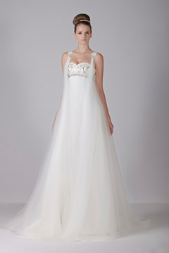 Glamorous Empire Sweetheart Floor-Length Watteau Train Tulle Alex Sande's Wedding Dress