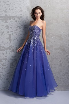 Graceful A-Line Floor-Length Sweetheart Beaded Miriama's Prom Dress