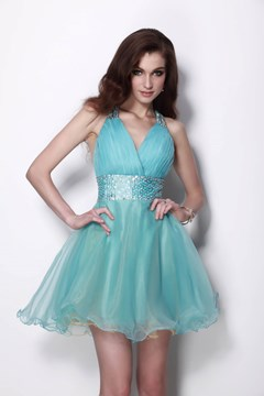 Luxurious Organza V-Neck Short/Mini-Length Sleeveless Natilie's Cocktail/Homecoming Dress