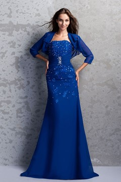 Attractive Beaded Sheath Strapless Floor-Length Miriama's Mother of the Bride Dress With Jacket/Shawl