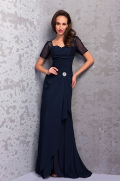 Graceful Sheath Floor-Length Short Sleeves Renata's Mother of the Bride Dress
