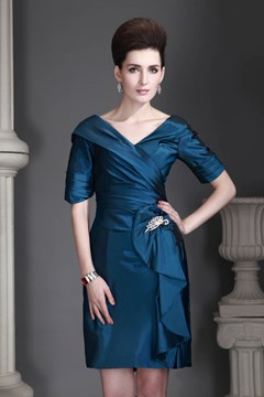 Sheath/Column V-Neck Short-Sleeves Knee-Length Mother of the Bride Dress