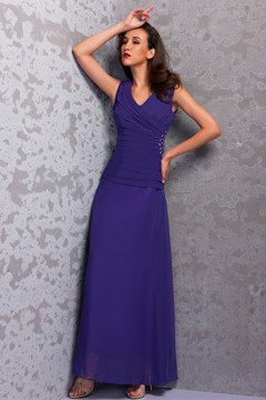 Sleeveless Sheath V-Neck Ankle-length Renata's Mother of the Bride Dress