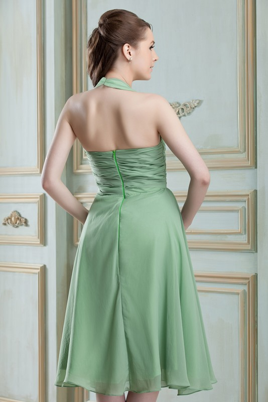 Sexy Ruched A-line V-Neck Knee-Length Nadya's Bridesmaid Dress