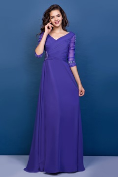 Graceful Appliques A-line V-Neck Half Sleeves Floor-Length Mother of the Bride Dress