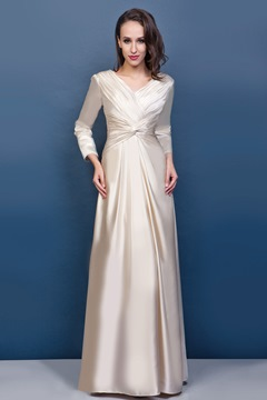 Graceful Draped Sheath/Column V-Neck 3/4-Sleeves Floor-Length Renata's Mother of the Bride Dress