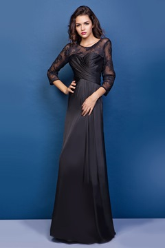 Graceful Lace Sheath Round Neckline Floor-length Juliana's Mother of the Bride Dress