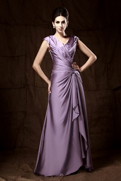 Attractive Sleeveless V-neck Ankle-length Pick-up Mother Of The Bride Dress