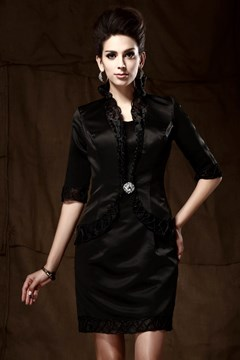 Graceful Sheath/Column Sweetheart Neckline Knee-Length Taline's Mother of the Bride Dress With Jacket/Shawl