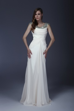 Delicated Beaded/Squins Column Scoop Floor-Length Mother of the Bride Dress