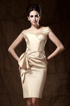 Elegant V-neck Off-the-shoulder Knee-length Pick-up Taline's Mother of The Bride Dress