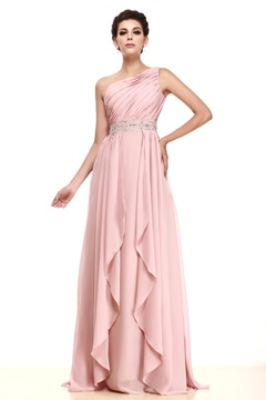 Delicate Tiered A-line Empire Waist One-Shoulder Floor-Length Taline's Mother of the Bride Dress