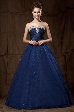 Charming A-line Strapless Floor-length Lace-up Sandra's Prom Dress