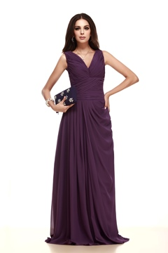 A-Line V-Neckline Floor-Length Taline's Mother of the Bride Dress