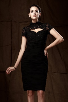 Vogueable Lace Sheath/Column High-Neck Short-Sleeves Knee-Length Taline's Mother of the Bride Dress