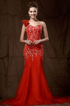 Fantastic Mermaid Court Train One-Shoulder Sandra's Evening Dress
