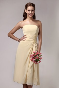 Gorgeous A-Line Strapless Knee-length Silk Shantung Sandra's Bridesmaid Dress
