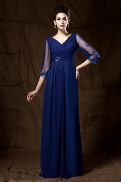 V-neck Cropped Sleeve Floor--length 3/4 Sleeved Mother of the Bride Dress