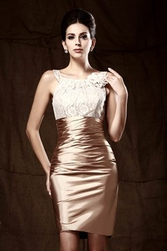 Glittering Flower Sheath/Column Short/Mini-Length Round Neckline Taline's Mother Of The Bride Dress