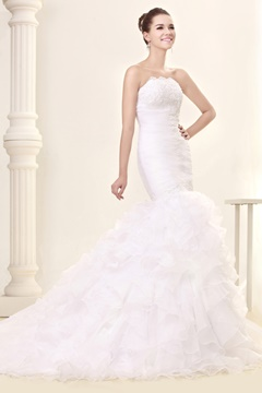 Amazing Trumpet/Mermaid Slim Sweetheart Court Train Ruffles Fall Sandra's Wedding Dress