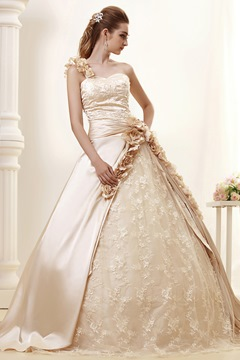 Elegant One-shoulder Ball Gown Sweep Flowers Wedding Dress