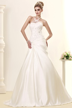 Elegant A-line Halter Sleeveless Sweep Beading Wedding Dress