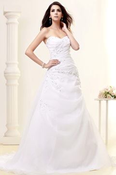 Fantastic Sweetheart Strapless Beading A-Line Wedding Dress