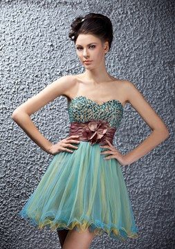 A-line Beads Empire Crystal Mini/Short Polina's Homecoming/Prom Dress