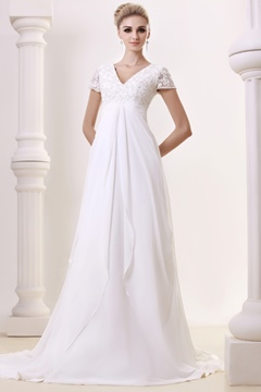 Graceful Empire V-Neck Floor-length Chapel Beading Plus Size Bridal Gowns