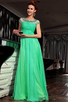 Hot Sale A-line Scoop Dreads Long Prom Dress